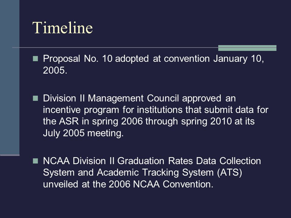 Timeline Proposal No. 10 adopted at convention January 10, 2005.