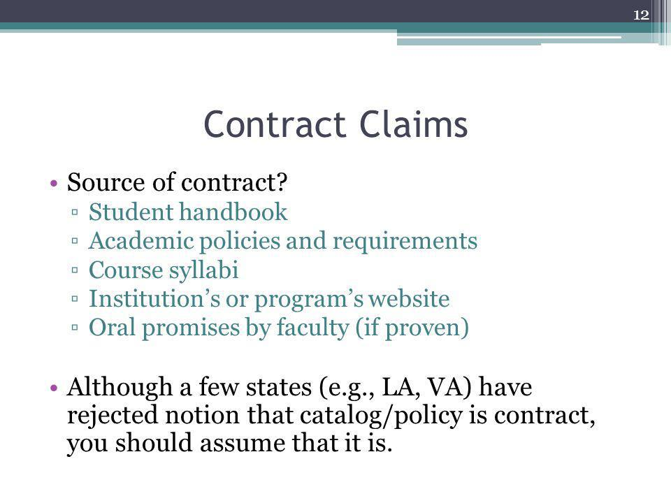 Contract Claims Source of contract.