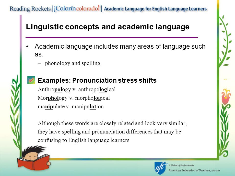 Linguistic concepts and academic language Academic language includes many areas of language such as: –phonology and spelling Examples: Pronunciation stress shifts Anthropology v.