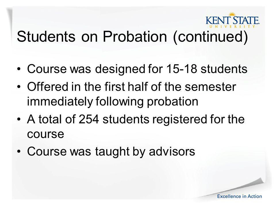 Students on Probation (continued) Course was designed for 15-18 students Offered in the first half of the semester immediately following probation A total of 254 students registered for the course Course was taught by advisors