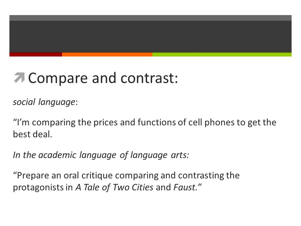  Compare and contrast: social language: I'm comparing the prices and functions of cell phones to get the best deal.