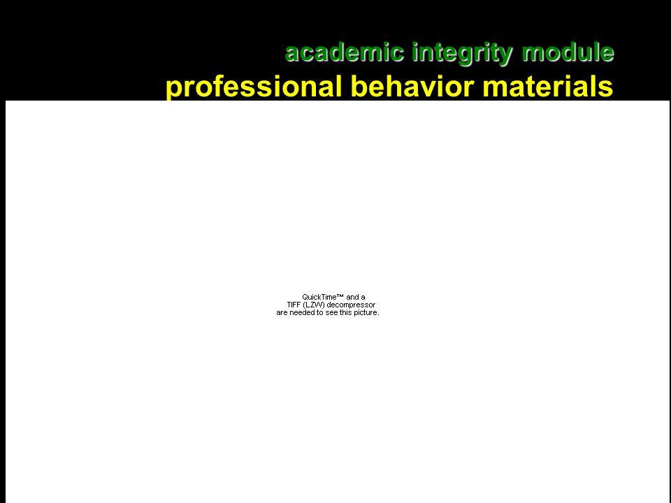 16 academic integrity module academic integrity module professional behavior materials
