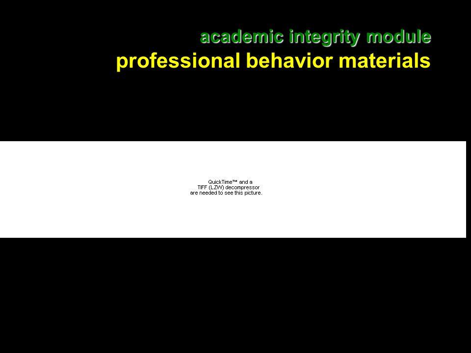 17 academic integrity module academic integrity module professional behavior materials