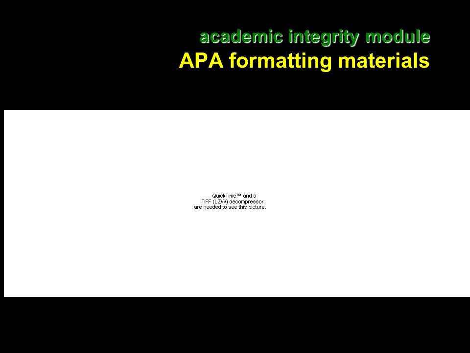 22 academic integrity module academic integrity module APA formatting materials