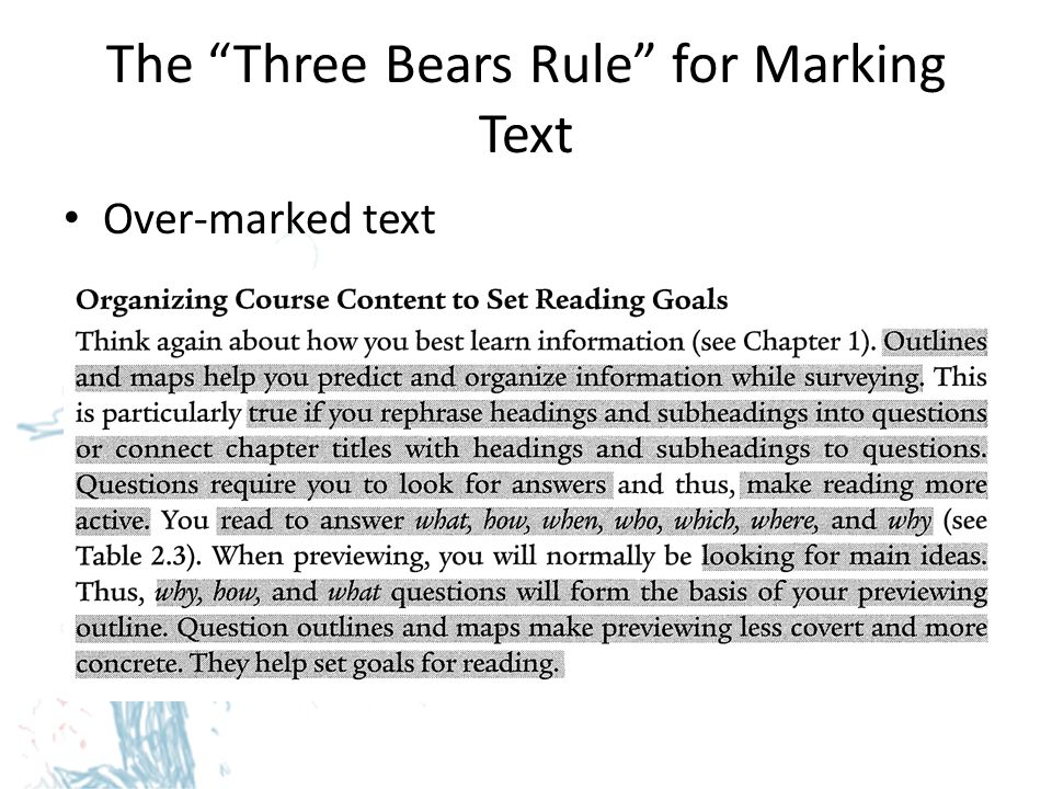 The Three Bears Rule for Marking Text Under-marked text