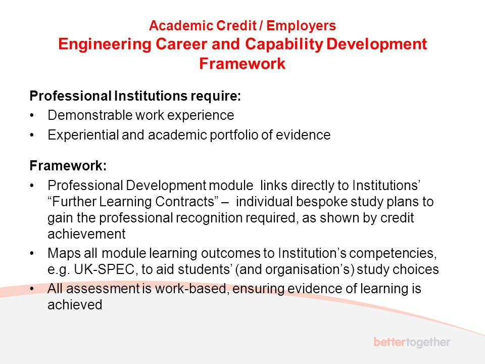 Academic Credit / Employers Engineering Career and Capability Development Framework Professional Institutions require: Demonstrable work experience Ex