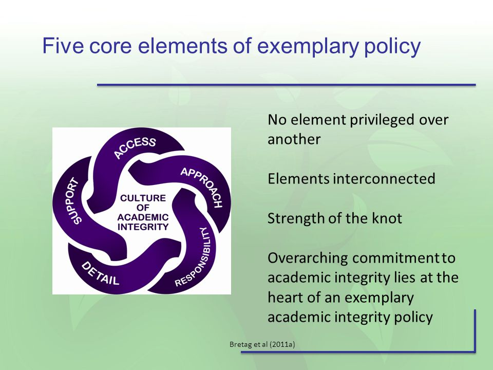 Five core elements of exemplary policy No element privileged over another Elements interconnected Strength of the knot Overarching commitment to academic integrity lies at the heart of an exemplary academic integrity policy Bretag et al (2011a)
