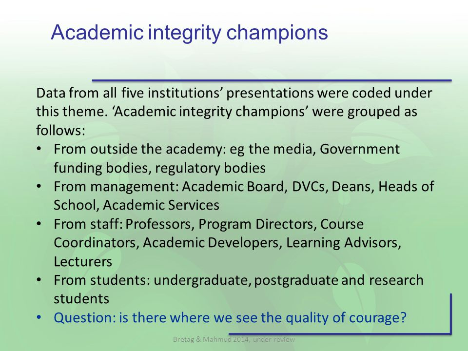 Academic integrity champions Data from all five institutions' presentations were coded under this theme.
