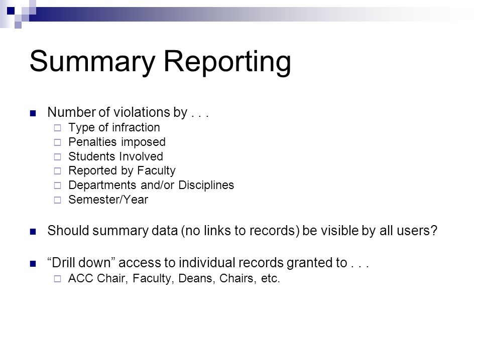 Summary Reporting Number of violations by...