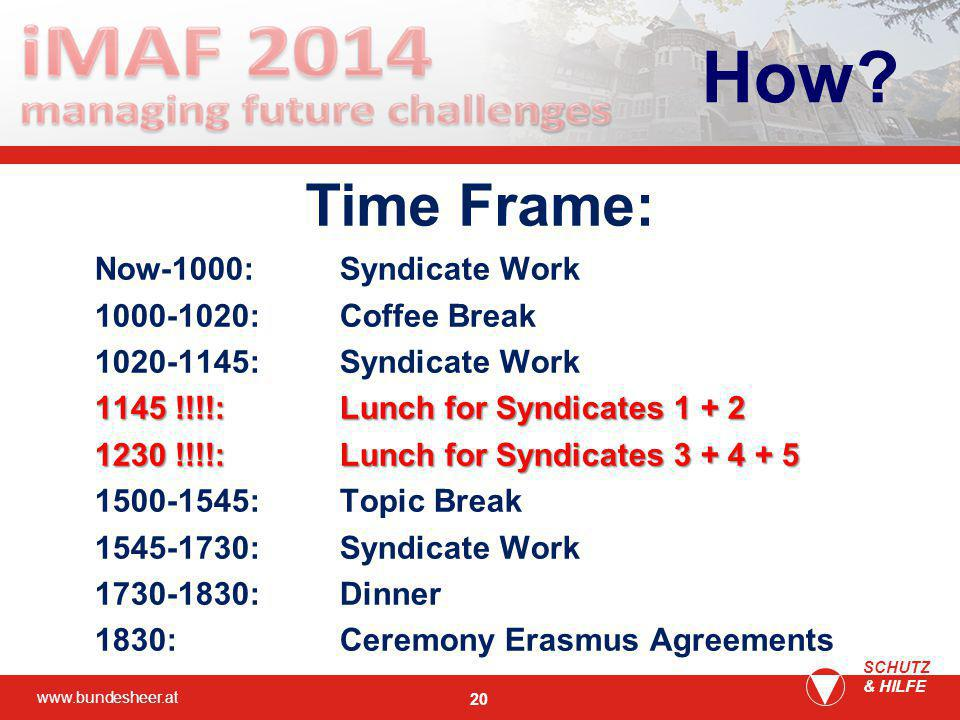 www.bundesheer.at SCHUTZ & HILFE 20 Time Frame: Now-1000:Syndicate Work 1000-1020:Coffee Break 1020-1145:Syndicate Work 1145 !!!!:Lunch for Syndicates 1 + 2 1230 !!!!:Lunch for Syndicates 3 + 4 + 5 1500-1545:Topic Break 1545-1730:Syndicate Work 1730-1830: Dinner 1830:Ceremony Erasmus Agreements How?