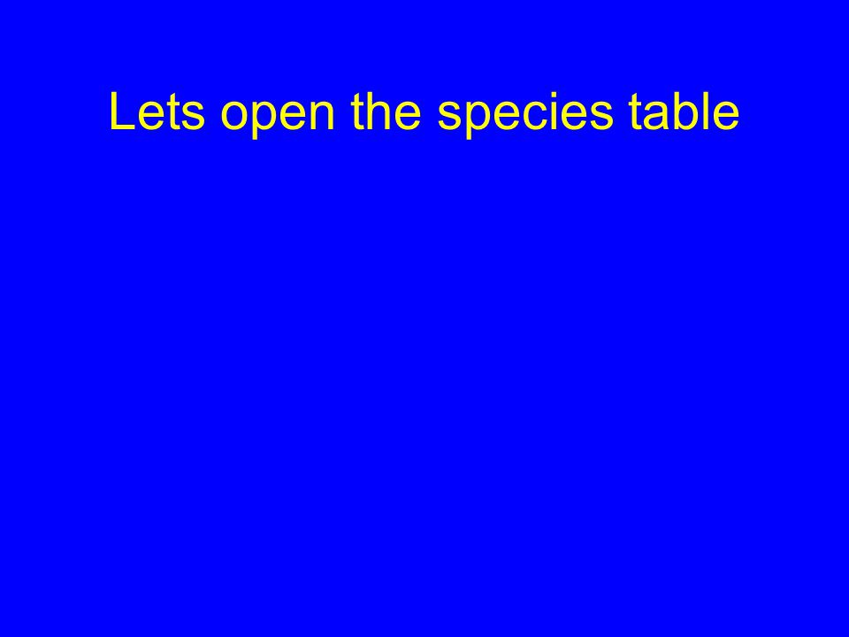 Lets open the species table