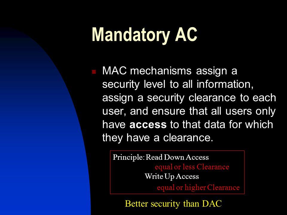 Mandatory AC (cont) Individuals Resources Server 1 Top Secret Server 3 Classified Server 2 Secret SIPRNET Legacy Apps