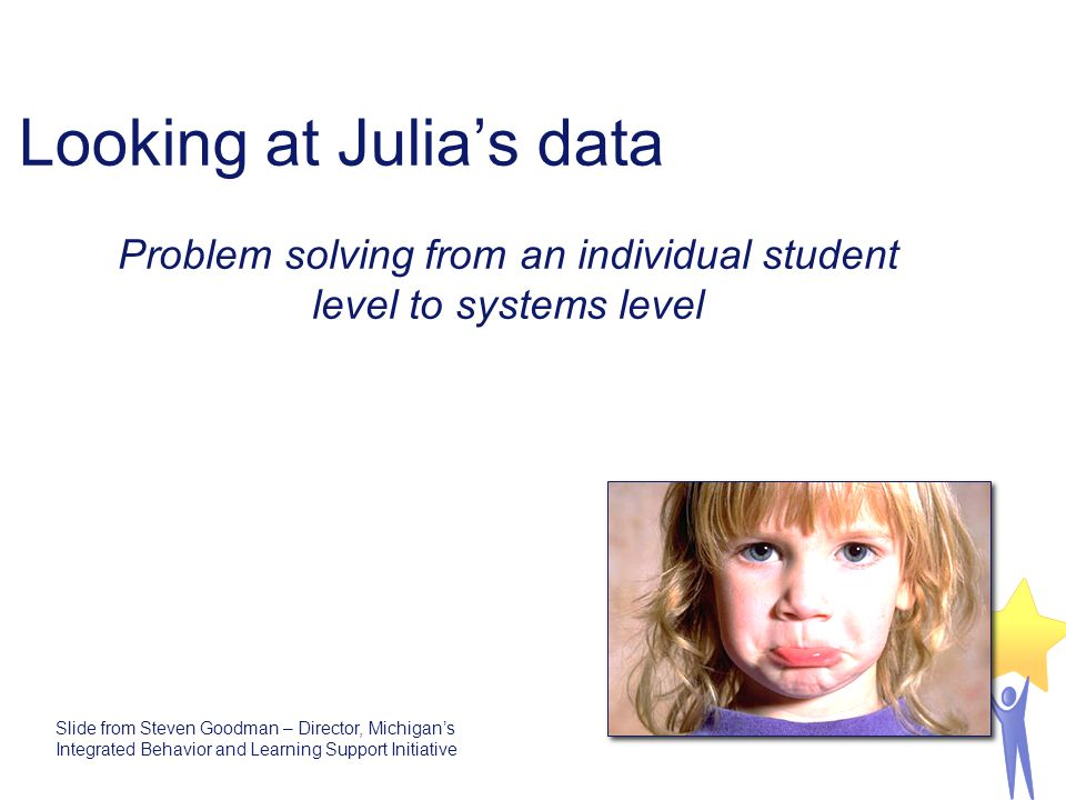 Looking at Julia's data Problem solving from an individual student level to systems level Slide from Steven Goodman – Director, Michigan's Integrated