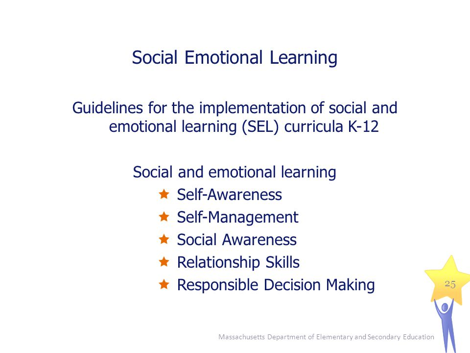Social Emotional Learning Guidelines for the implementation of social and emotional learning (SEL) curricula K-12 Social and emotional learning  Self