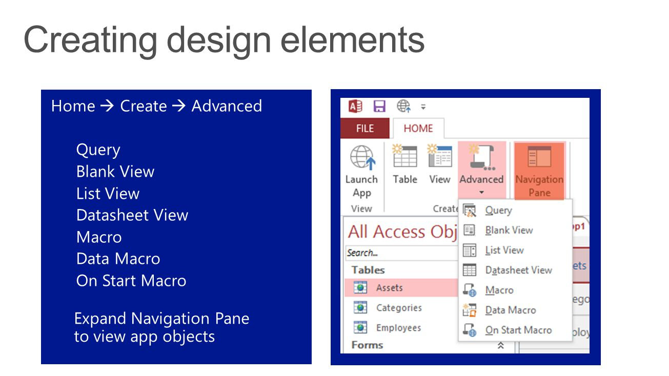 Home  Create  Advanced Query Blank View List View Datasheet View Macro Data Macro On Start Macro Expand Navigation Pane to view app objects