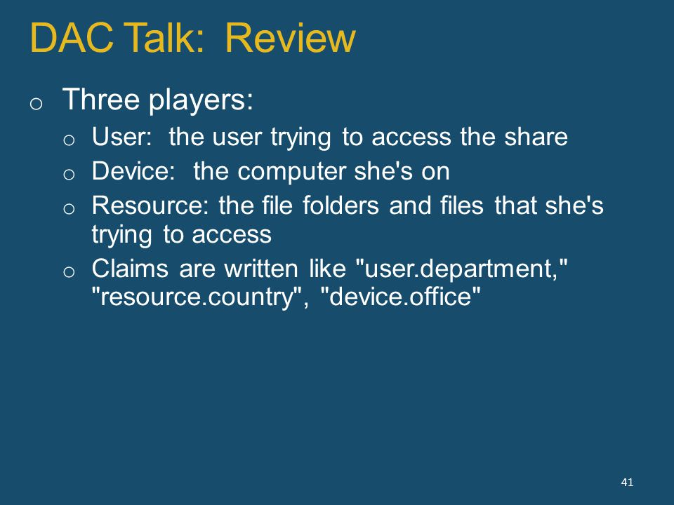 DAC Talk: Review 41