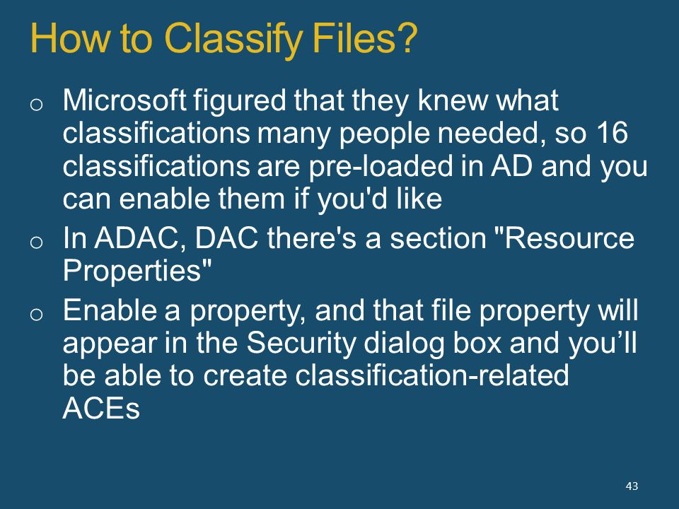 How to Classify Files 43
