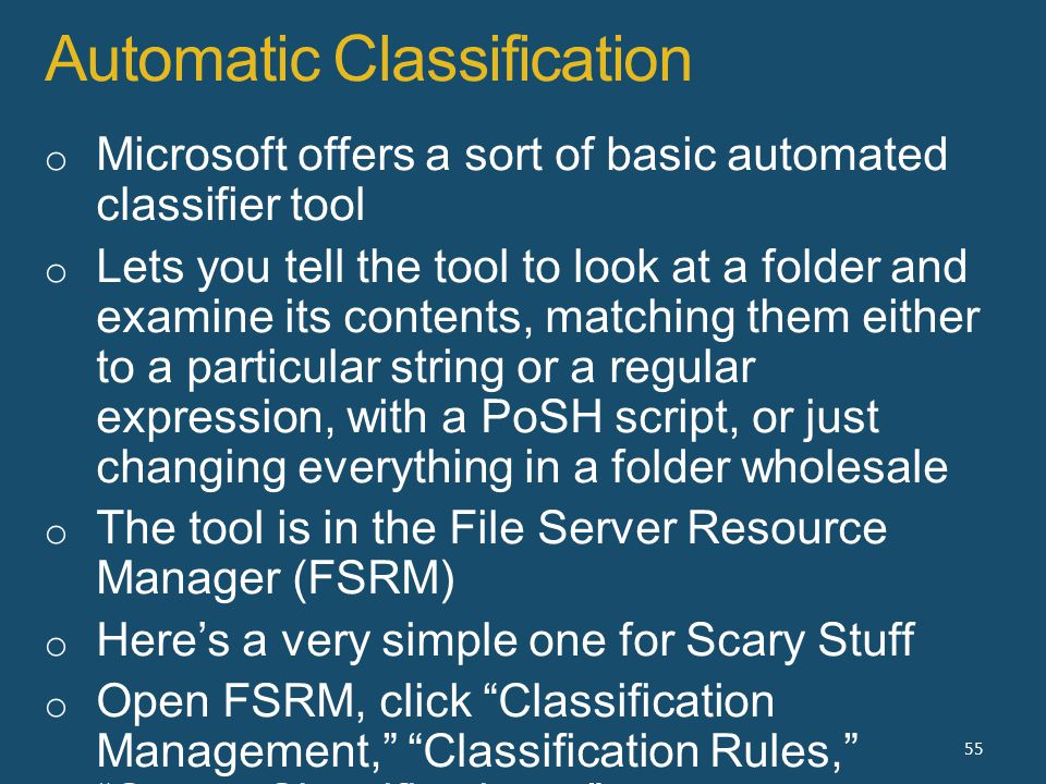 Automatic Classification 55
