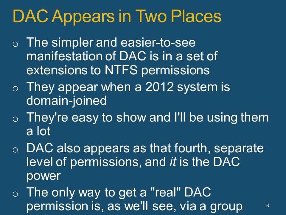 DAC Appears in Two Places 8