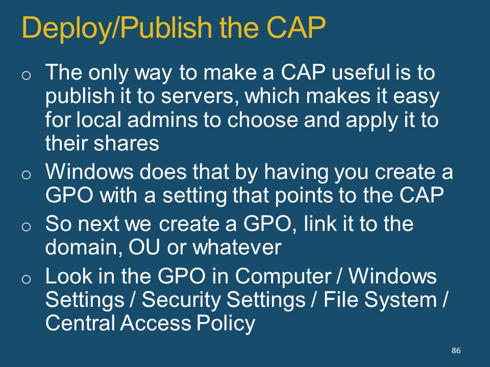 Deploy/Publish the CAP 86