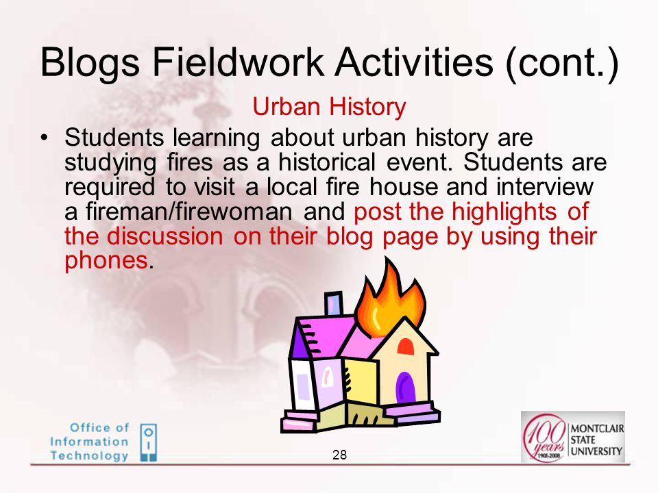 28 Urban History Students learning about urban history are studying fires as a historical event.
