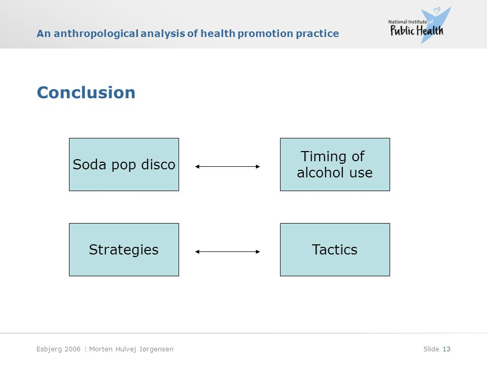 An anthropological analysis of health promotion practice Esbjerg 2006 | Morten Hulvej JørgensenSlide 13 Conclusion Soda pop disco Timing of alcohol use StrategiesTactics