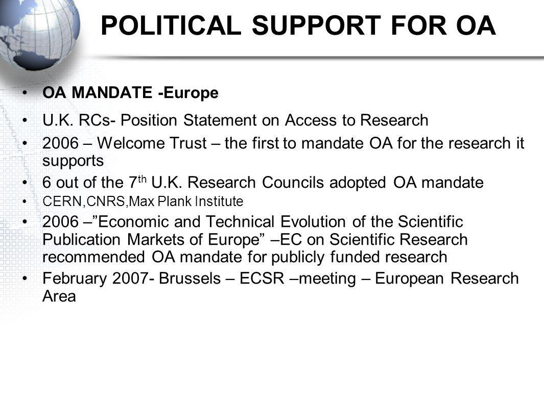 POLITICAL SUPPORT FOR OA OA MANDATE -Europe U.K.