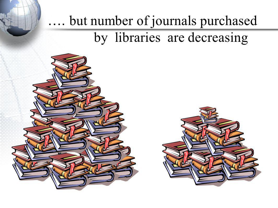 …. but number of journals purchased by libraries are decreasing