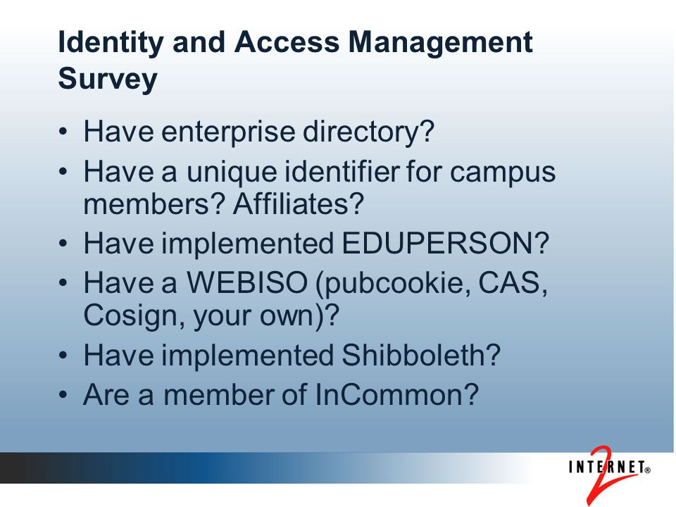 Identity and Access Management Survey Have enterprise directory.