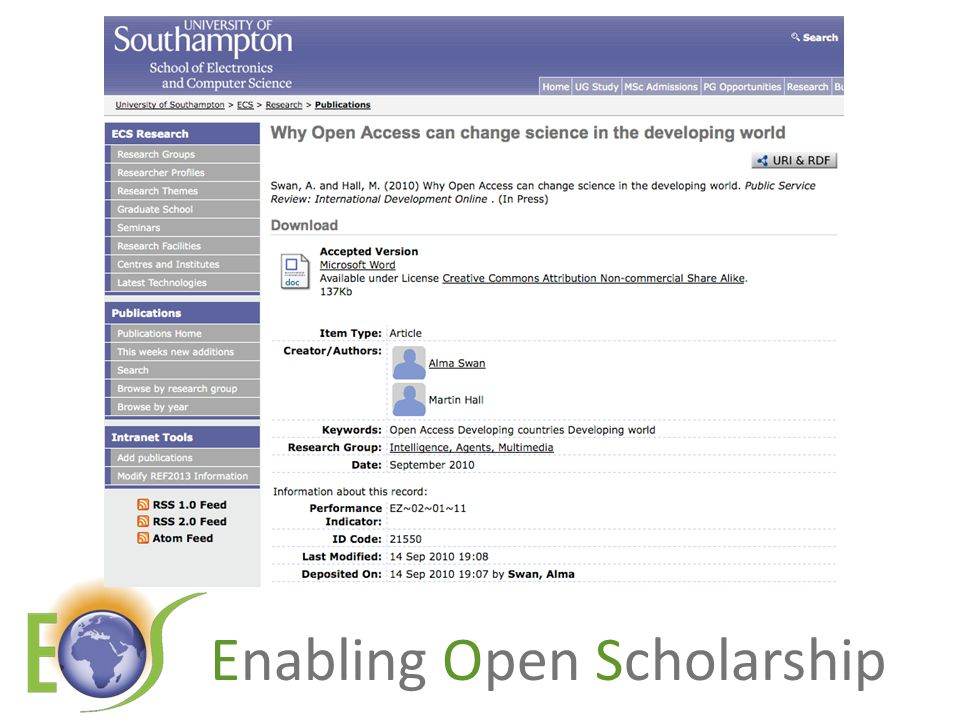 Enabling Open Scholarship