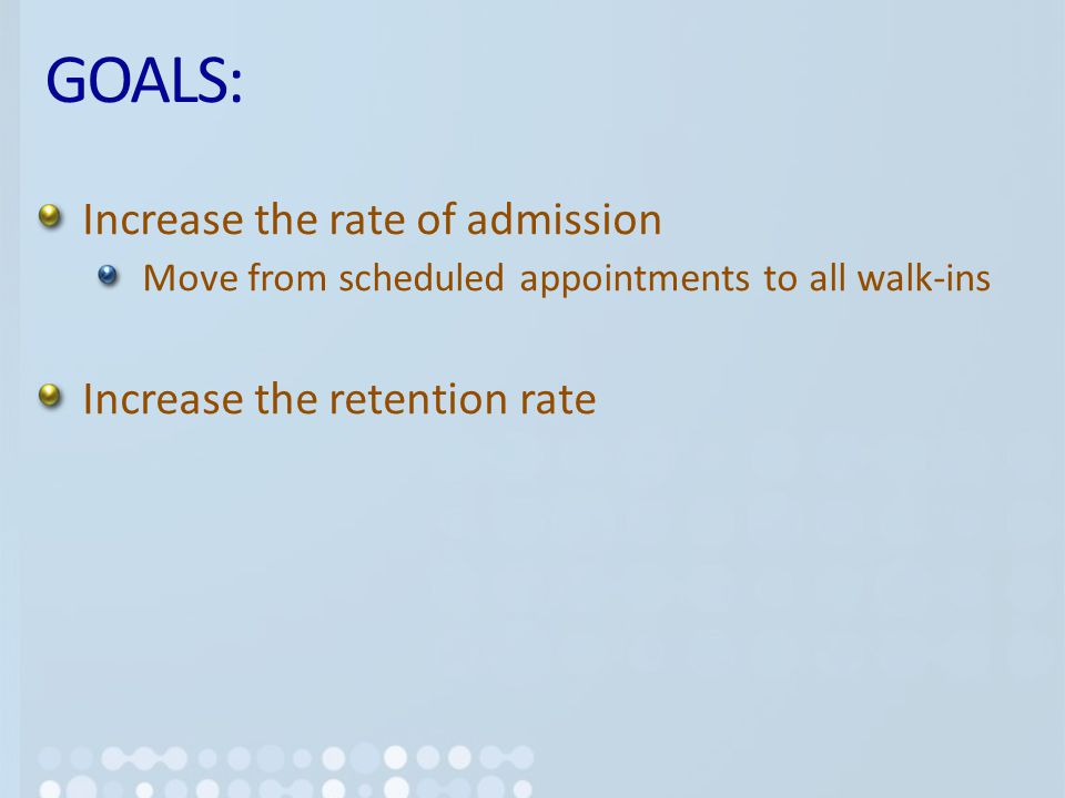 GOALS: Increase the rate of admission Move from scheduled appointments to all walk-ins Increase the retention rate