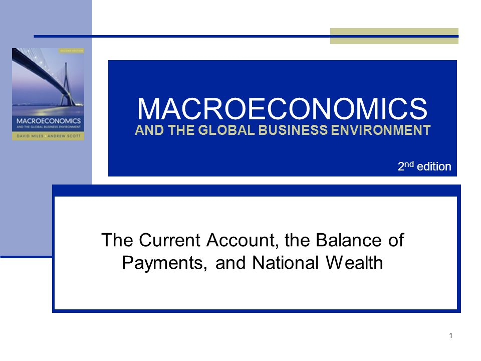 1 MACROECONOMICS AND THE GLOBAL BUSINESS ENVIRONMENT The Current Account, the Balance of Payments, and National Wealth 2 nd edition