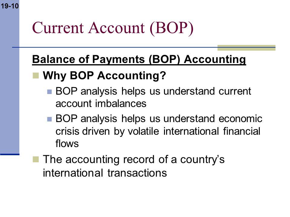 19-10 Current Account (BOP) Balance of Payments (BOP) Accounting Why BOP Accounting? BOP analysis helps us understand current account imbalances BOP a