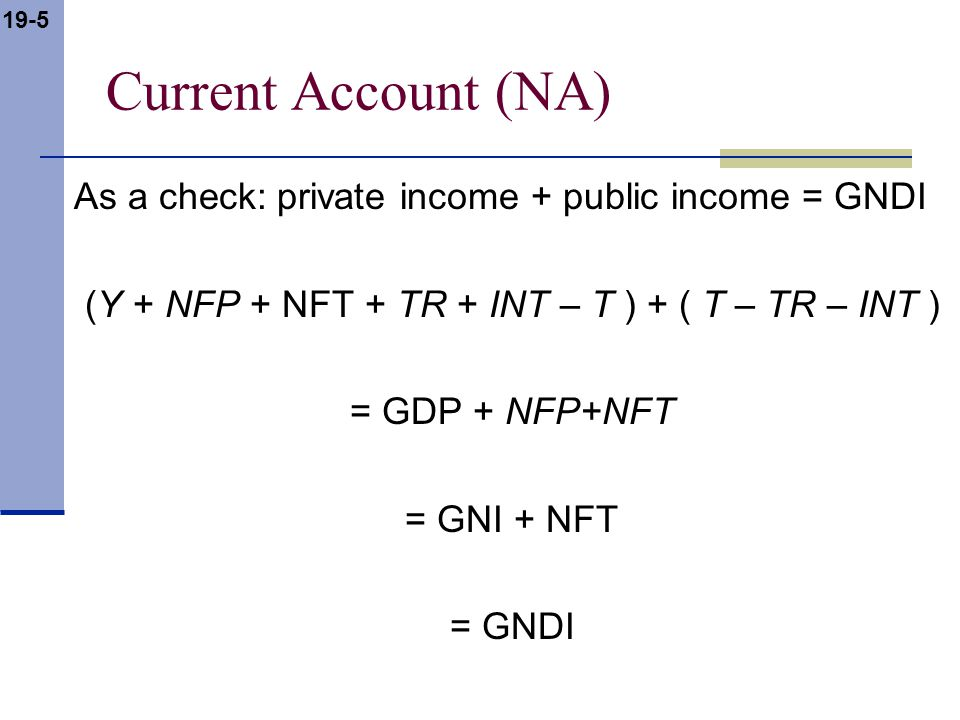 19-5 Current Account (NA) As a check: private income + public income = GNDI (Y + NFP + NFT + TR + INT – T ) + ( T – TR – INT ) = GDP + NFP+NFT = GNI +