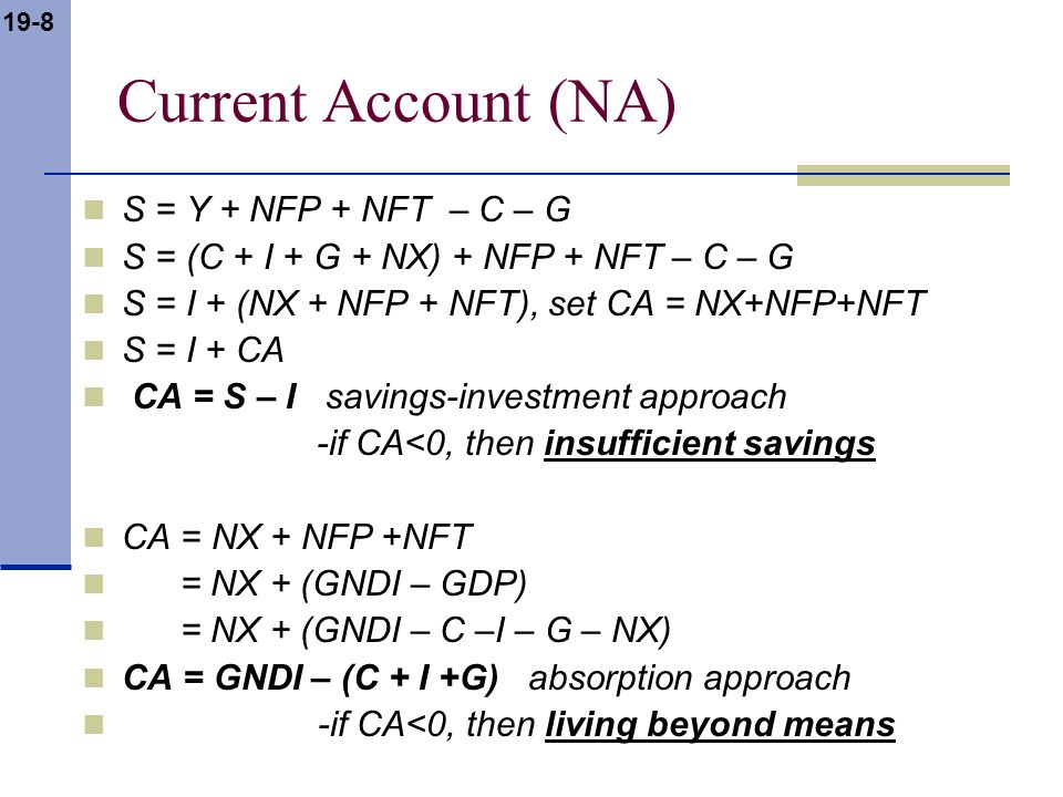 19-9 Current Account (CA) Why Current Account Deficits.