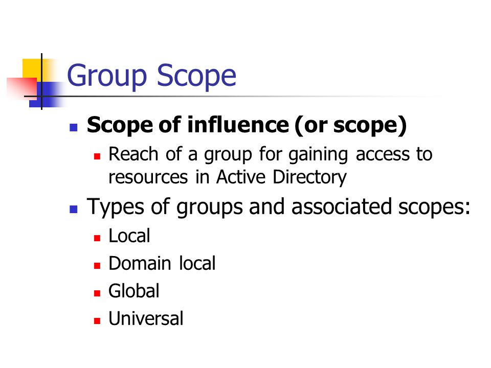 Local Groups Local security group Used to manage resources on a stand- alone computer that is not part of a domain and on member servers in a domain (non-DCs) Create using the Local Users and Groups MMC snap-in
