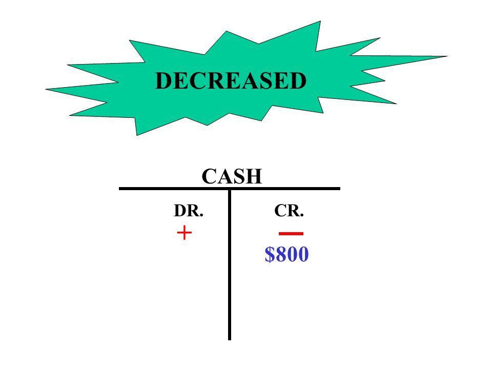 DECREASED CASH DR.CR. $800 +