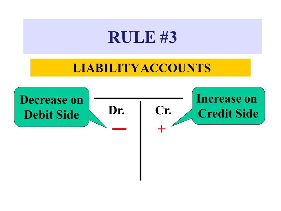 RULE #3 LIABILITY ACCOUNTS Dr.Cr. + Decrease on Debit Side Increase on Credit Side