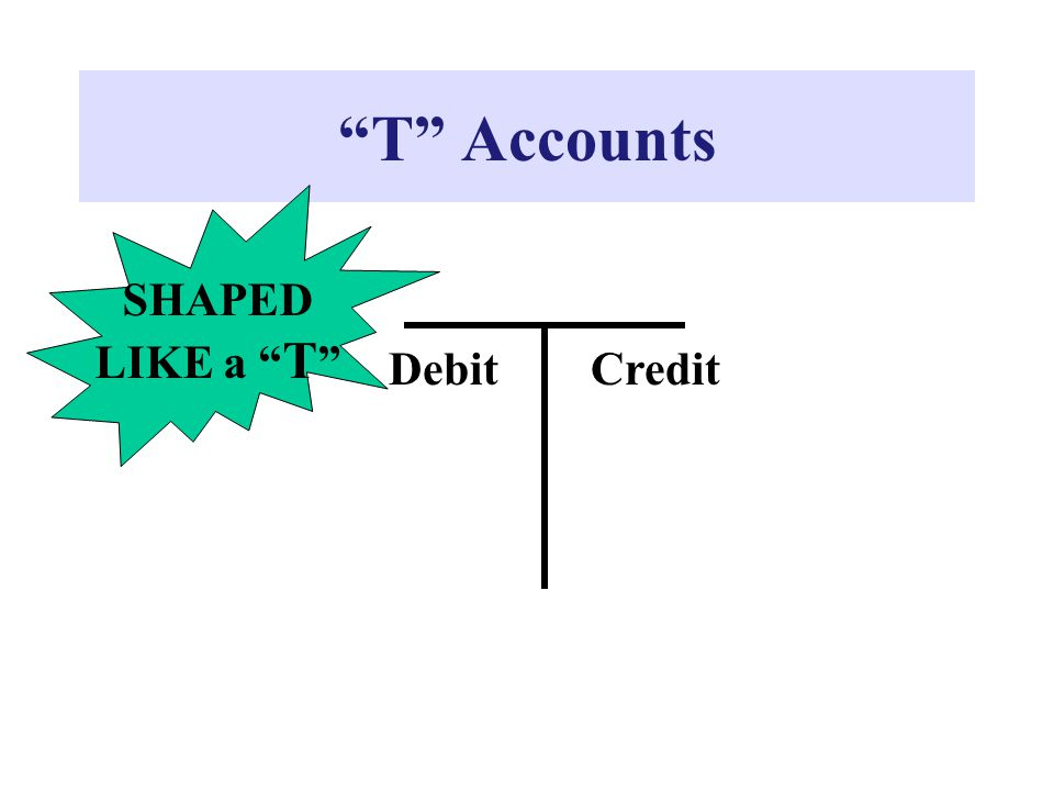 """T"" Accounts DebitCredit SHAPED LIKE a "" T """