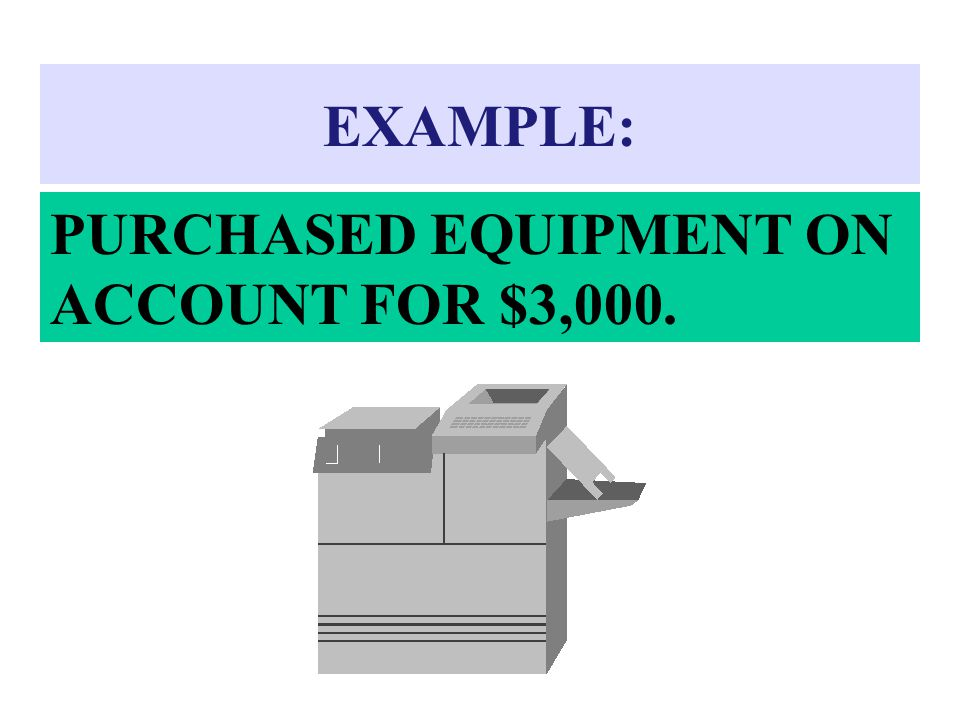 EXAMPLE: PURCHASED EQUIPMENT ON ACCOUNT FOR $3,000.