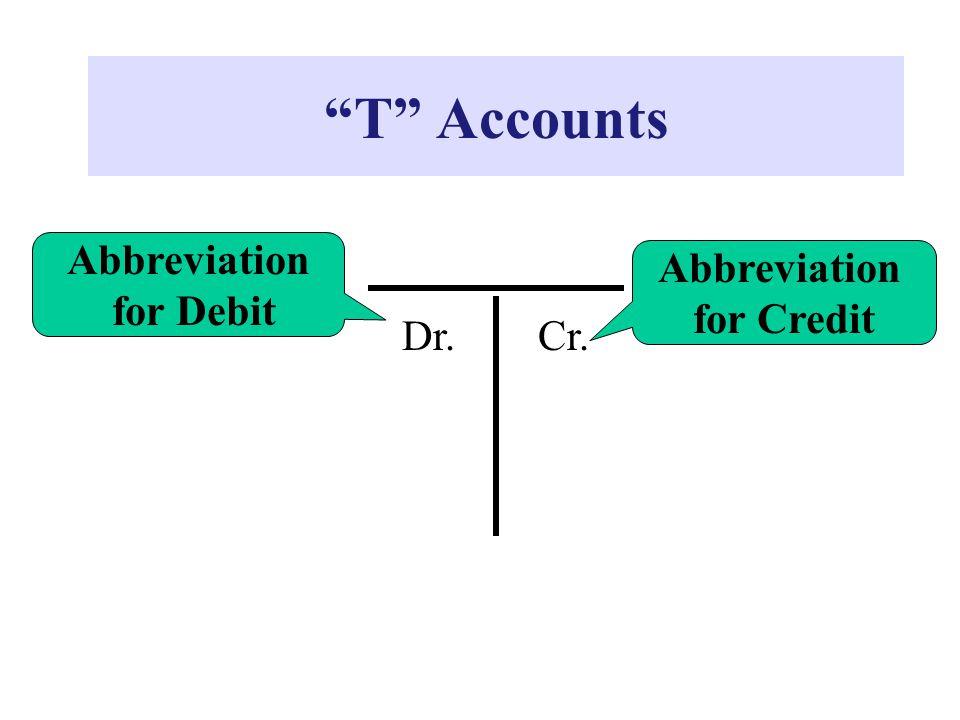 """T"" Accounts Dr.Cr. Abbreviation for Debit Abbreviation for Credit"
