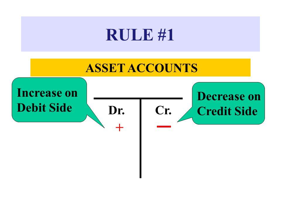 RULE #1 ASSET ACCOUNTS Dr.Cr. + Increase on Debit Side Decrease on Credit Side