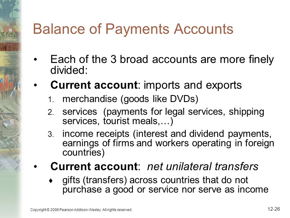 Copyright © 2006 Pearson Addison-Wesley. All rights reserved. 12-26 Balance of Payments Accounts Each of the 3 broad accounts are more finely divided: