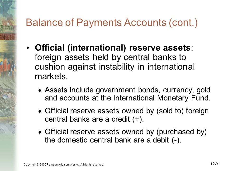 Copyright © 2006 Pearson Addison-Wesley. All rights reserved. 12-31 Balance of Payments Accounts (cont.) Official (international) reserve assets: fore