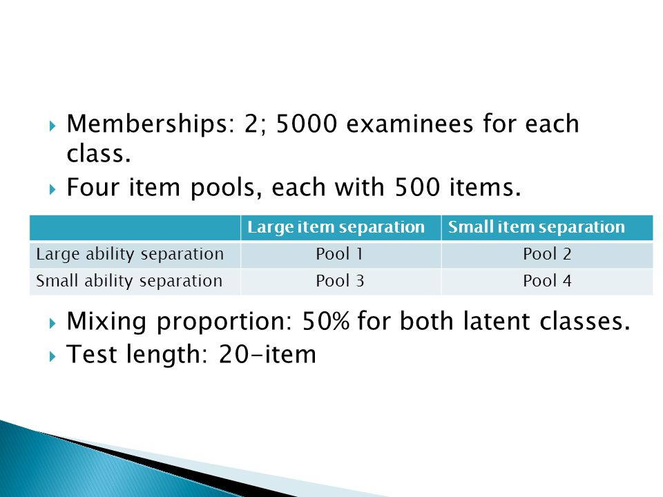  Memberships: 2; 5000 examinees for each class.  Four item pools, each with 500 items.