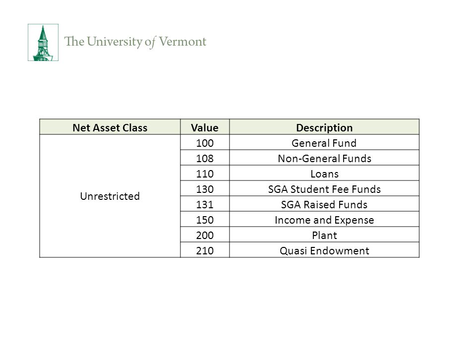 Net Asset ClassValueDescription Unrestricted 100General Fund 108Non-General Funds 110Loans 130SGA Student Fee Funds 131SGA Raised Funds 150Income and Expense 200Plant 210Quasi Endowment