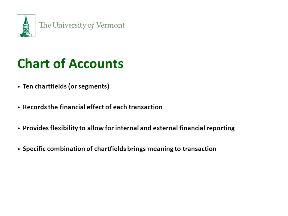 Chart of Accounts Ten chartfields (or segments) Records the financial effect of each transaction Provides flexibility to allow for internal and external financial reporting Specific combination of chartfields brings meaning to transaction