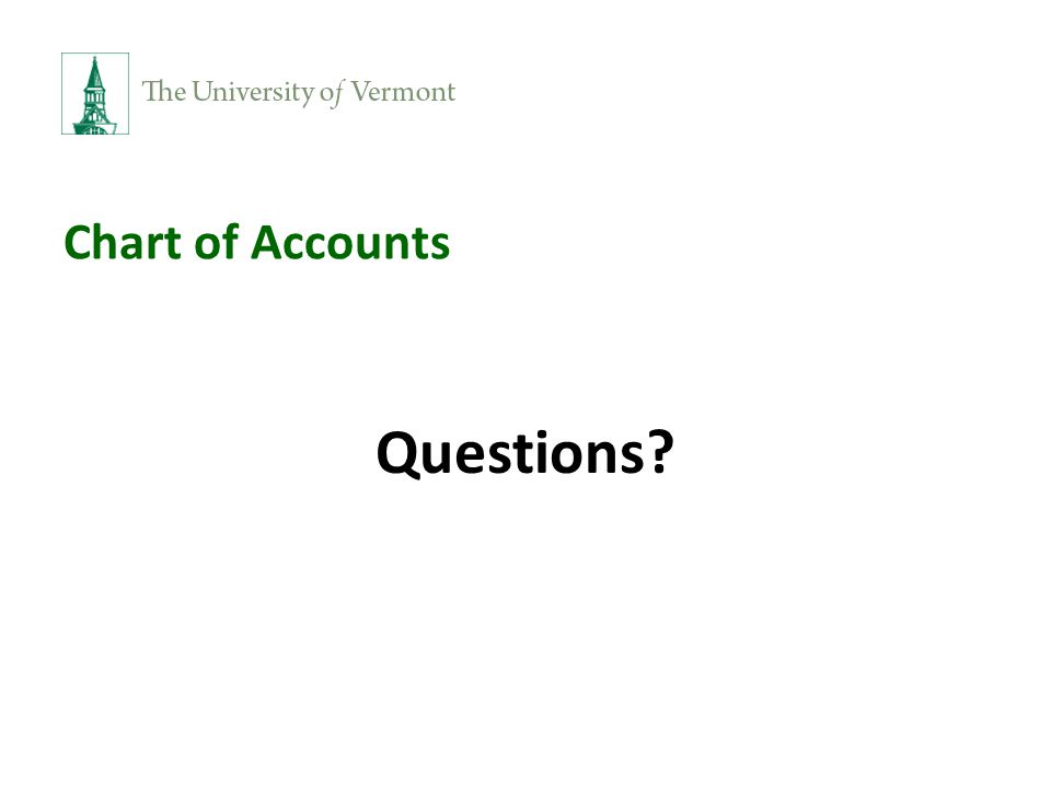 Chart of Accounts Questions