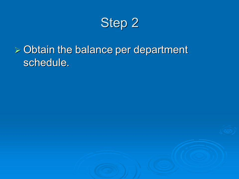 Step 2  Obtain the balance per department schedule.