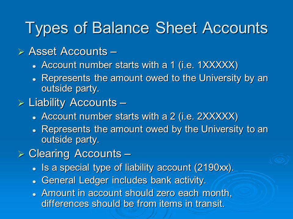 Types of Balance Sheet Accounts  Asset Accounts – Account number starts with a 1 (i.e.